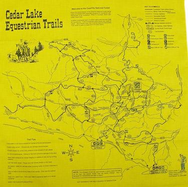 Cedar Lake Horse Trail Map Bandana Hankie