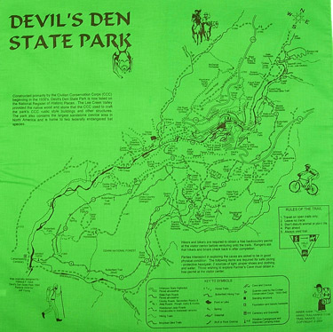 Devils Den Arkansas Map.Devil S Den Trail Map Bandana Hankie Bandana